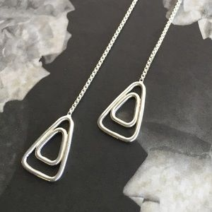 Triangle Threads/Simple Earrings - Sterling Silver
